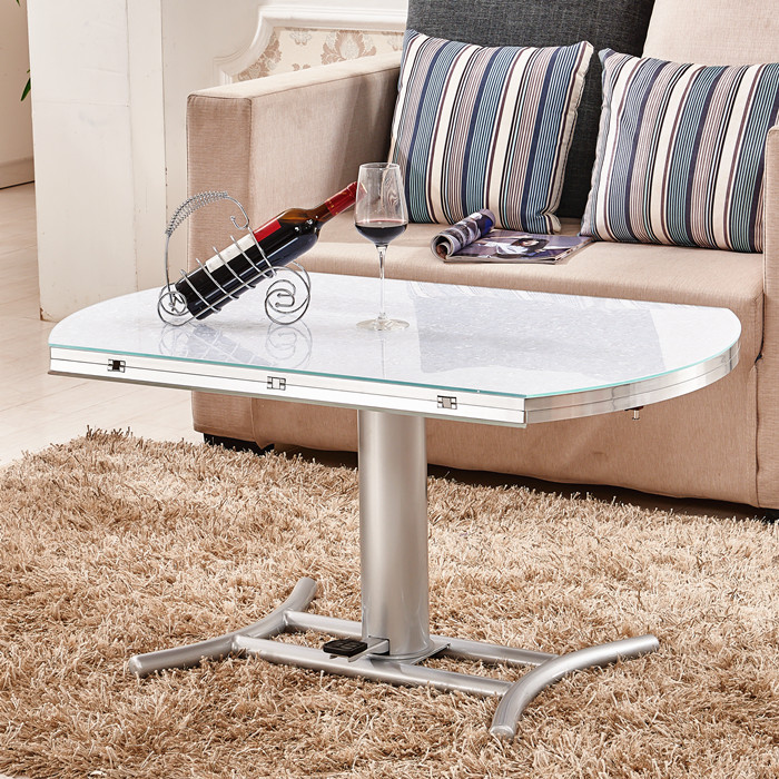 Folding Glass Top Coffee Table: Round Glass Coffee Table Minimalist Small Apartment
