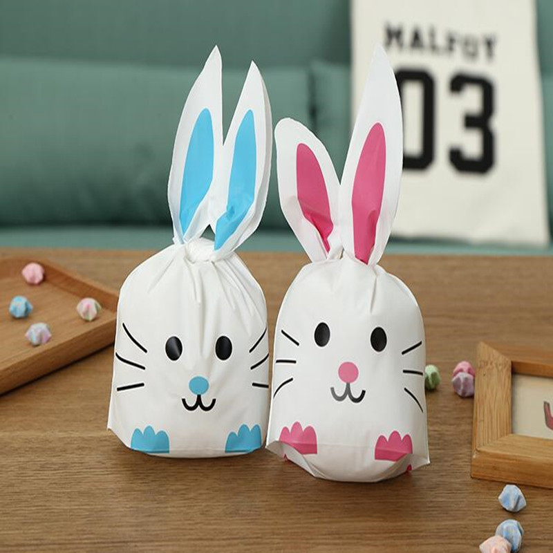 2018 hot sale 10pcs /lot cat style Cute Bunny Cookies Bags Rabbit Ear Plastic Candy Bag Box Gift 22*13.5cm 2 colors