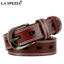 LA SPEZIA Vintage Leather Belt Women Burgundy Waist Belt For Jeans Ladies Genuine Cowhide Leather Brand Classic Pin Buckle Belts