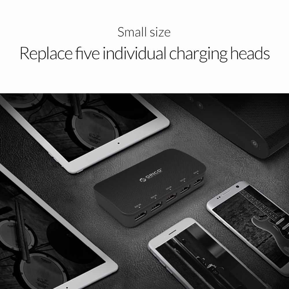 ORICO EU USB Charger Smart 5 Port Desktop Charger Mobile Phone Travel Charger Intelligent Charging For Smartphone With Adapter
