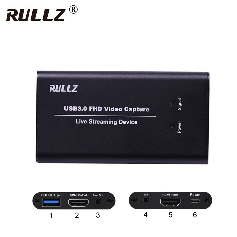 With Mic HDMI To USB 3.0 Video Capture Card Phone Game TV Programs Recording Box Quicktime Youtube Facebook Skype Live Streaming