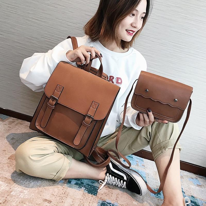 HTB1GbNqXUjrK1RkHFNRq6ySvpXaS Fashion 2 PCS/SET Leather Women Backpacks for Teenagers female Back Pack Large Capacity Pu Travelling Bags Vintage school bag