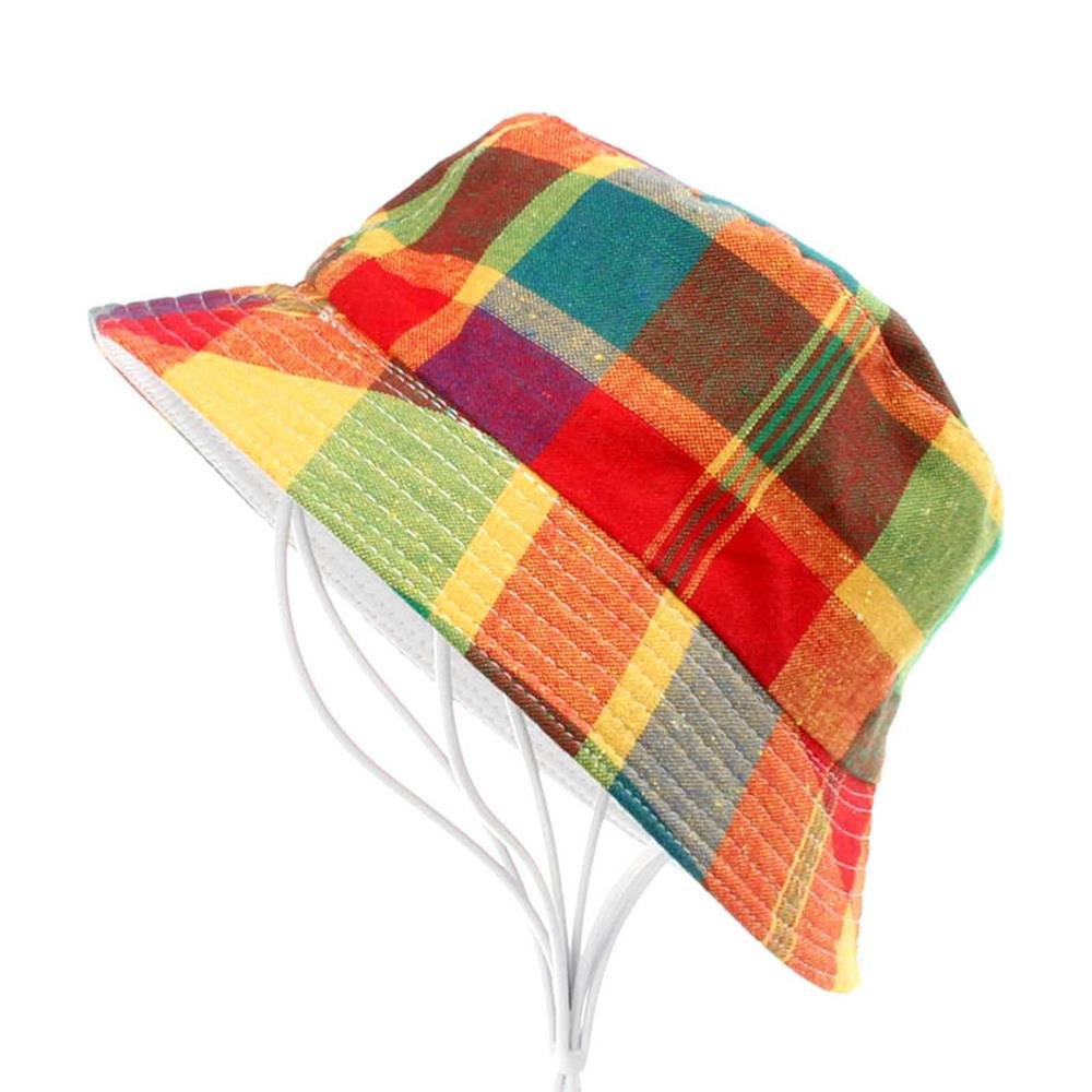 2016 Fashion Kids Sun Cap Children Boy Girls Casual Summer Outdoor Bucket Hats Plaid Pattern Colors Sun Beach Hat Hot Sale