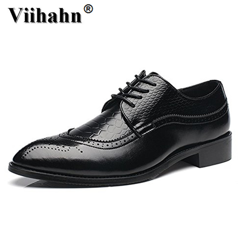 Mens Dress Shoes Brogue Oxfords Business Wedding Pointed Toe Wing Tip Leather Shoes Derby Lace-up Shoe Plus Size 39-46 2016 luxury mens goodyear welted oxfords shoes vintage boss brogue shoes italian mens dress shoes elegant mens gents shoes derby