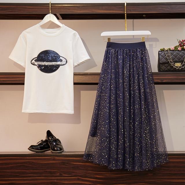 8f12ffc1190 2019 New Summer Women's Two Piece Set Short Sleeve Sequined Planet T-shirt  + Elastic Waist Mesh Skirt Set Ladies Skirt Suits
