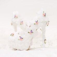 Ästhetische mode Weißen chiffon Blumen Brautschuhe ultra High Heels dünne Fersen Schuhe Pumps frauen Schuhe Hochzeit Schuhe partei