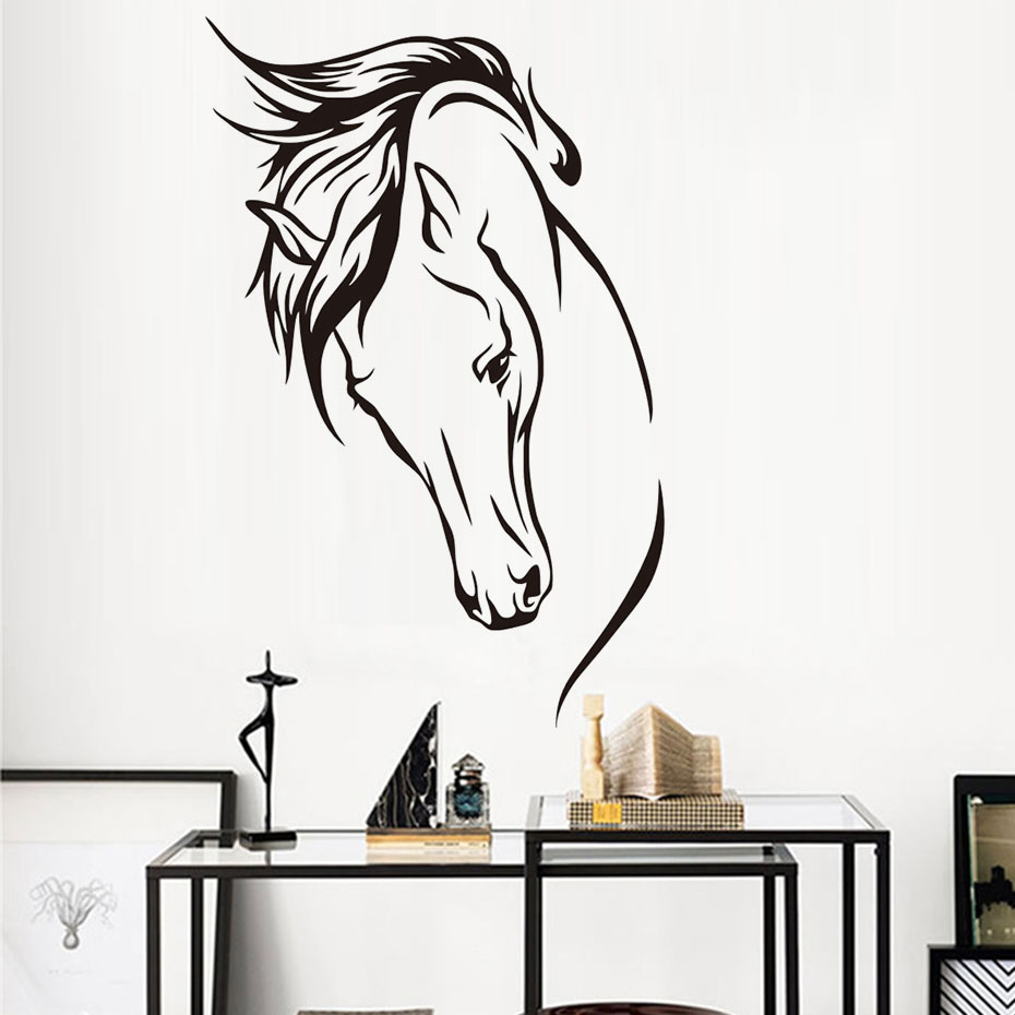 Aliexpress.com : Buy DCTOP Hot Sale Vinyl Removable Wall Decal Head Of  Horse Wall Sticker Wall Murals Living Room Decorative Animal Home  Decoration From ... Part 90