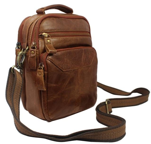 Multi Functional Fashion Genuine Leather Messenger Bag Men Crossbody Small Shoulder For