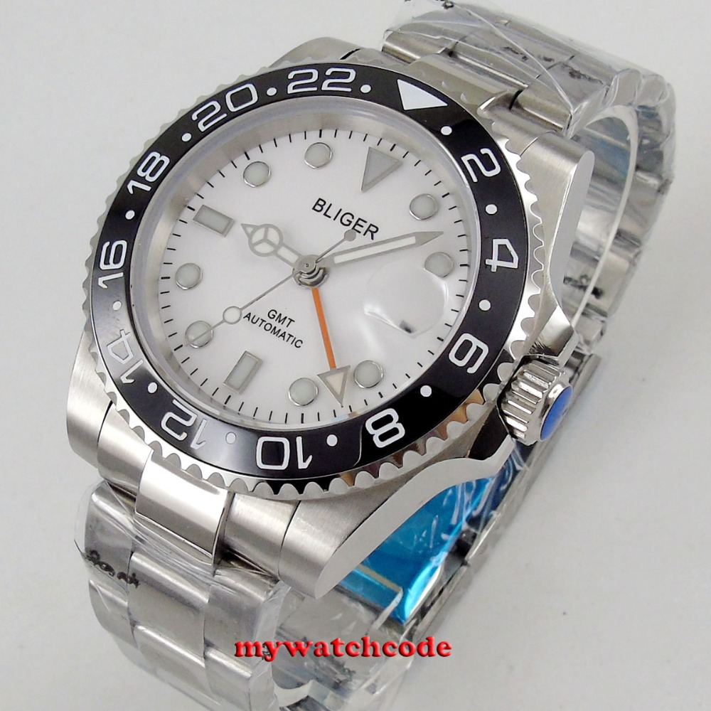 40mm bliger beyaz dial orange GMT el safir kristal otomatik mens izle40mm bliger beyaz dial orange GMT el safir kristal otomatik mens izle
