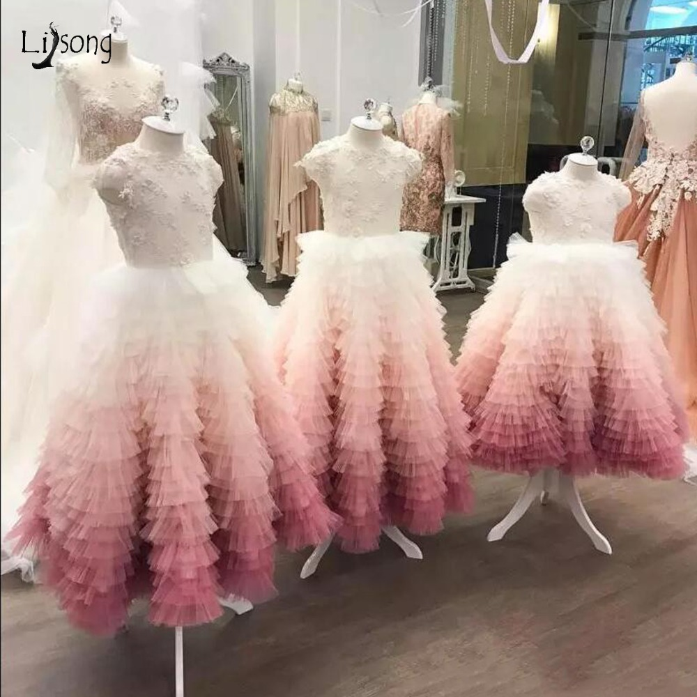 Sweet Pink Ruffles Flower Girl Dresses 2019 Colorful Beaded Pearls