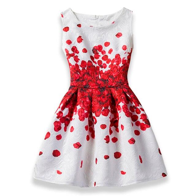 4a13e17d36b Летнее платье для девочек 2018 бабочка Цветочный принт платья для подростков  для девочек дизайнерская официальная Вечеринка