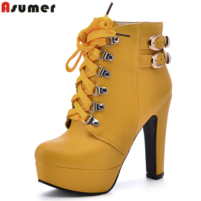 Asumer new fashion lace up ankle boots platform shoes woman high heels black solid autumn winter ankle boots buckle female shoes big size 34 43 vintage thick high heels platform ankle boots female fashion shoes woman buckle charm lace up fall winter boots
