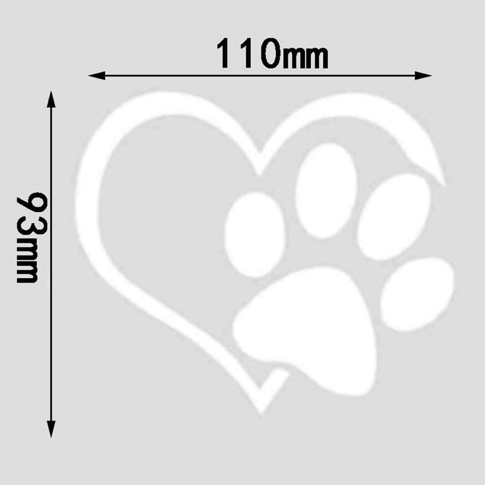 Pies wzór w kształcie serca łapy naklejki samochodowe ślad odblaskowe Auto wodoodporny odporny na działanie słońca okno folii 3D naklejka