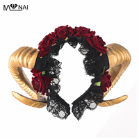 Steampunk Ram Horns Headband Cosplay Fantasy Fancy Dress Sheep Goat Animal Red Rose Crown Headpieces Costumes Accessories