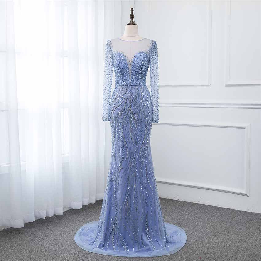 YQLNNE Blue Full Sleeve   Prom     Dresses   2019 Crystals Beaded Tulle Back Zipper See Through Long Evening Gown