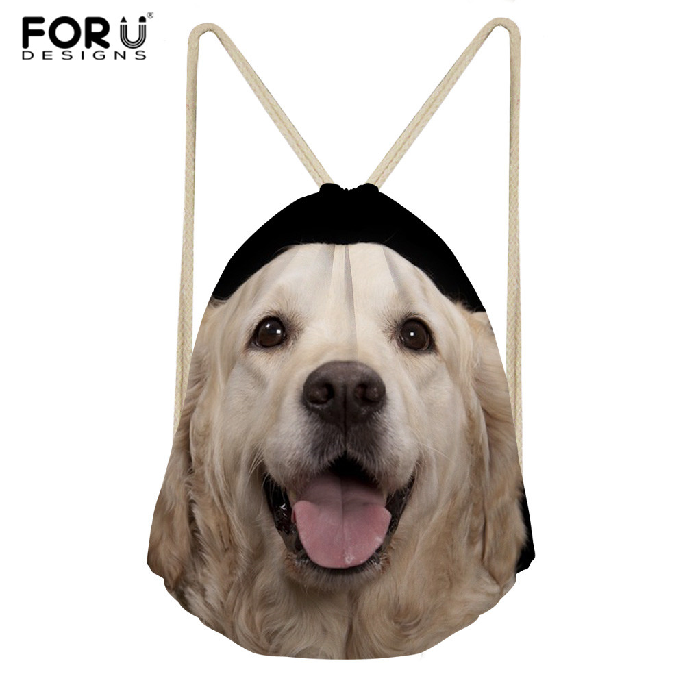 FORUDESIGNS Golden Retriever Dog Women Drawstring Bag String Sack Beach Women Men Travel Storage Package Teenagers Backpack