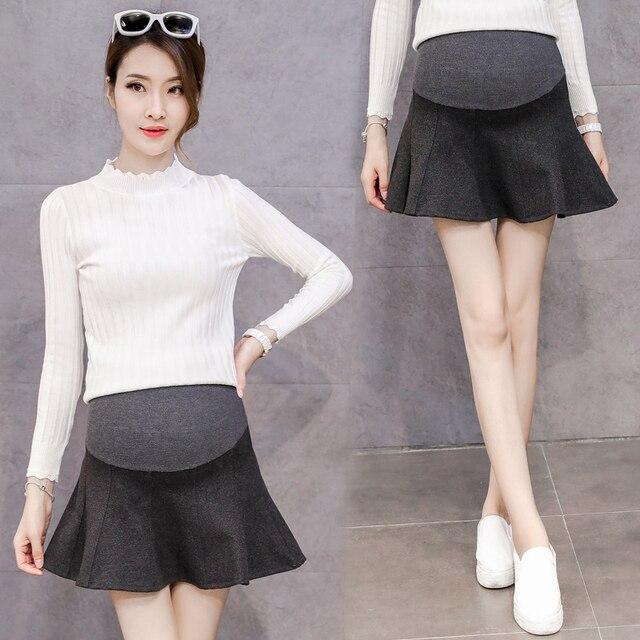 132a94d2d Maternidad alta cintura Faldas para las mujeres embarazadas 2018 primavera  invierno nueva moda mini una línea