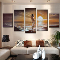 hand painted oil painting on canvas sunset beach landscape sea girl sexy naked nude canvas art picture for living room wall