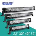 "Oslamp 22"" 32"" 42"" 52"" 3-Row Curved LED Work Light Bar for SUV Car Pickup OffRoad Driving Led Bar 12V 24V 6000K Combo Cree Chips"