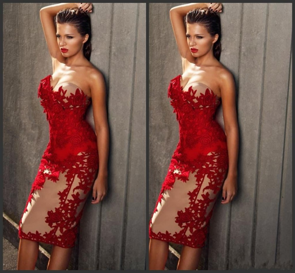2018 New Sexy Red Applique Prom Sweetheart Sheath Satin Custom Made Knee-length Prom Evening Gown Mother Of The Bride Dresses