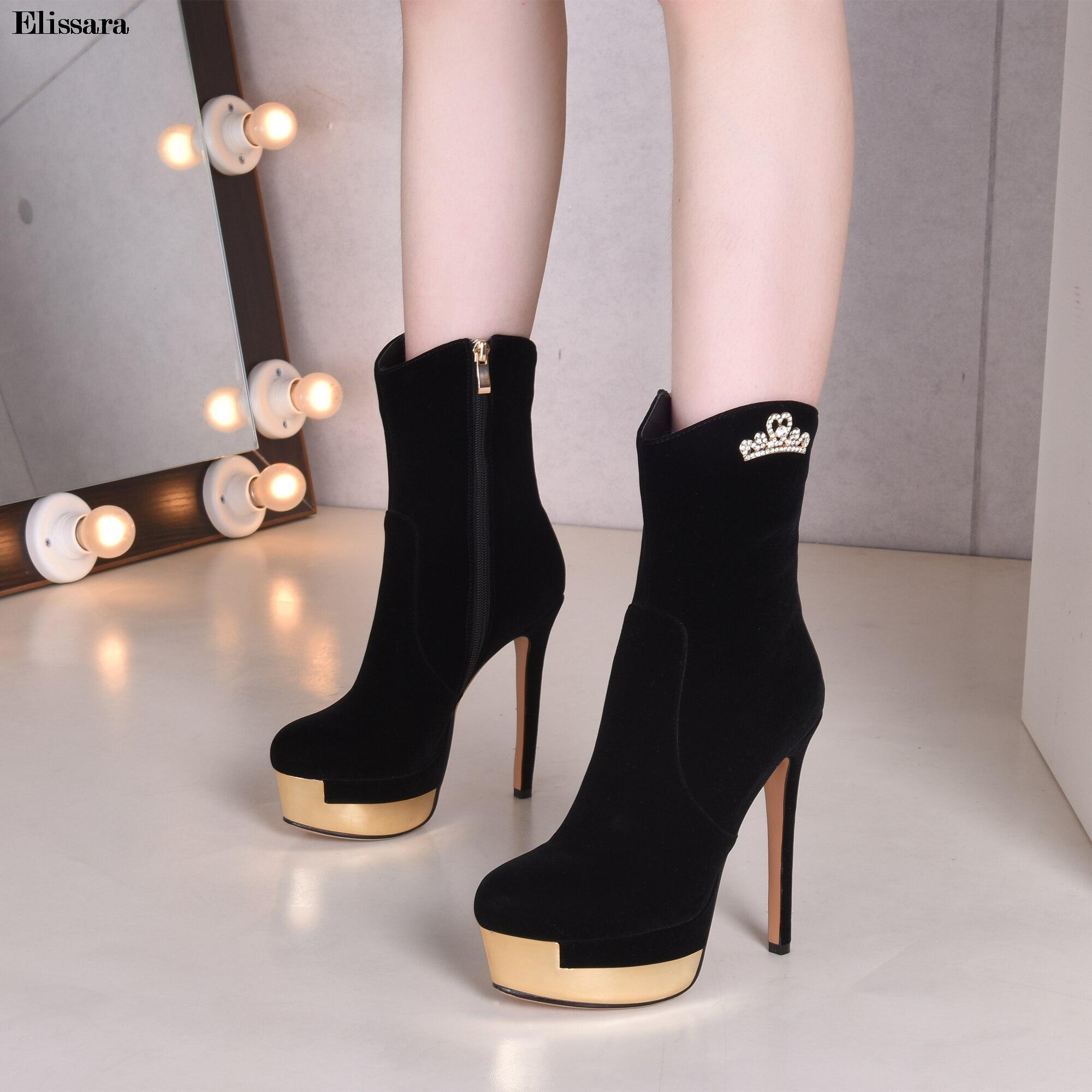 Metal Plataforma Elissara Extrema Alto Tacones Botines Botas 39 34 Zip Tamaño Mujeres Zapatos Negro Tacón FYFXA