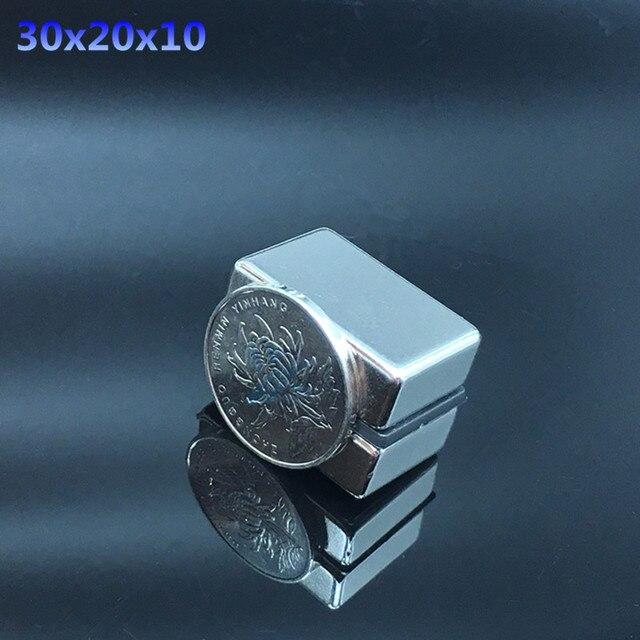 2 pièces aimant néodyme terre Rare bloc fort aimant réfrigérateur permanent NdFeB nickel carré magnétique