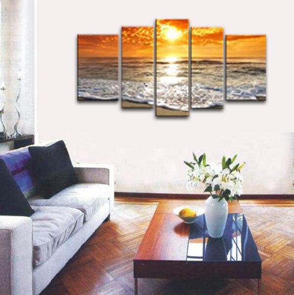 Fairy natuurlijke strand zonsondergang olieverf mooie landschap landschap canvas schilderkunst voor woonkamer - 3