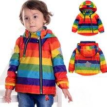 2017 NOUVEL An Arc-En-Enfants Veste Enfant Printemps et Automne Manteau pour Fille garçon Vêtements Windcoat Polaire à l'intérieur