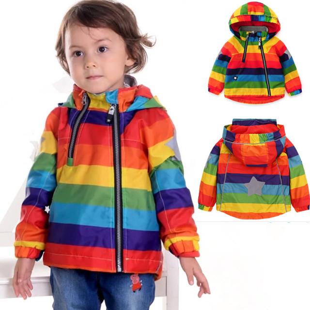 2017NEW Rainbow Crianças Jaqueta Primavera Outono Blusão Windcoat Casaco Criança Roupas Da Menina do menino Polar dentro 1-sete anos de idade