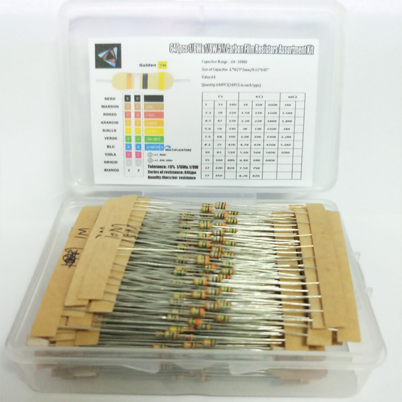 1/6W&1/8W 5% 640pcs 64 Values 1R - 10MR  Carbon Film Resistor Assorted Kit Set