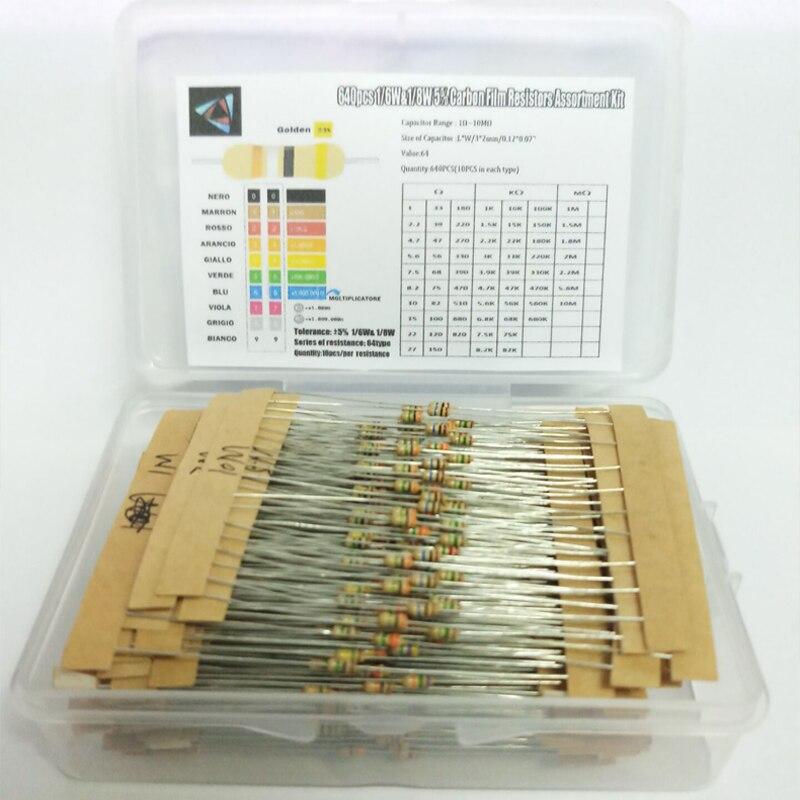 Карбоновая пленка, 1/6 Вт, 5%, 640 шт., 64 значения, 1R-10MR, фотоальбом