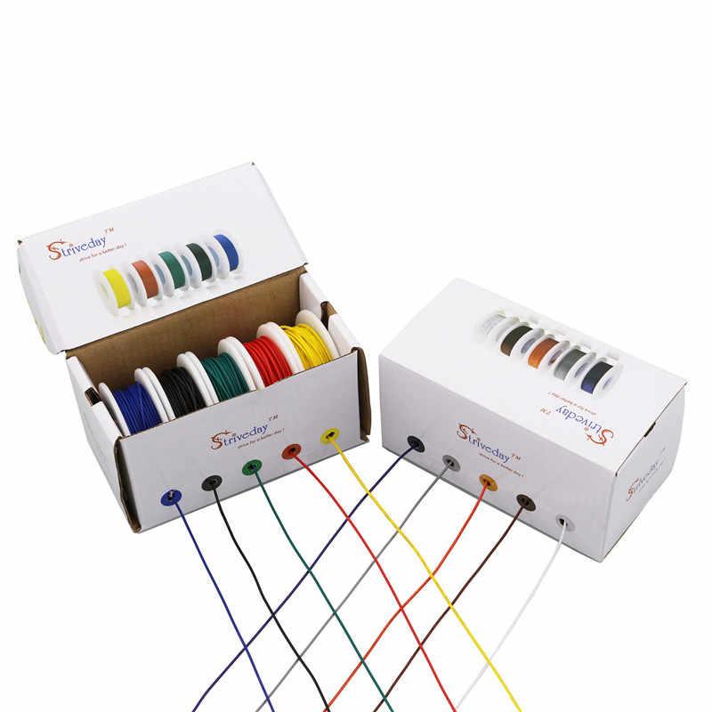 Câble de ligne de fil électrique | 28/26/24/22/20/18 awg, 5 couleurs mélangées, Kit de fil torsadé, fil de PCB et de cuivre de ligne aérienne