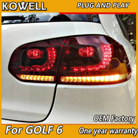 KOWELL Car Styling for VW Golf 6 for Mk6 taillight R20 LED rear lamp DRL+Brake+Park+dynamic Signal ALL LED tailight