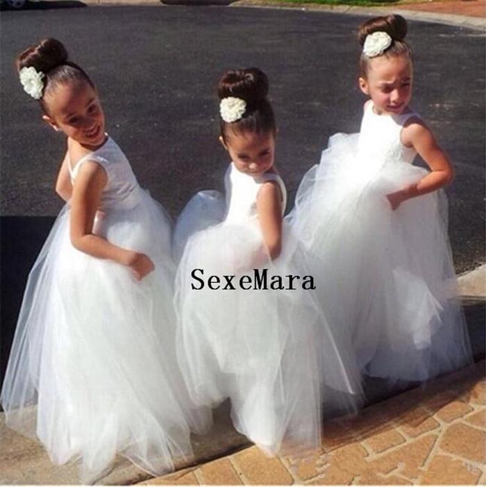 Flower Girl Dresses V Back 2018 Ball Gown Party Pageant Dress for Little Girls Children Dress for Wedding Communion Gown