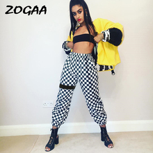 Лучший!  ZOGAA Клетчатые брюки женские с высокой талией Клетчатые прямые свободные спортивные штаны Повседнев
