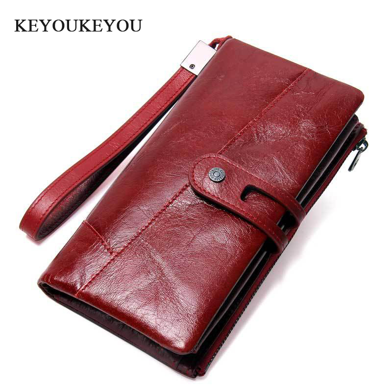 Keyoukeyou Vintage Genuine Leather Women Wallets Long