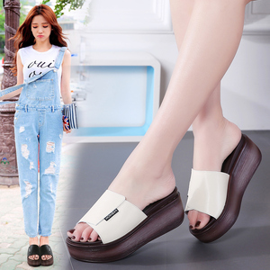 Image 3 - JZZDDOWN Summer women slippers genuine leather Open Toe middle heel shoes Women Wedges Slippers black white slides sandals