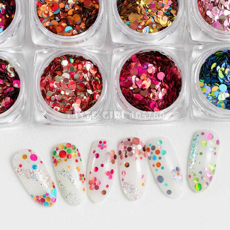 1 Jar High Quality Mix Colors Mix 3 Sizes Round Shape Glitter Holographic Sequin Arylic Nail Art Paillette Decals DIY Tip YHX18#
