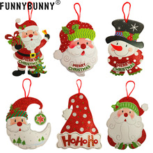 FUNNYBUNNY Christmas Ornaments Paper Welcome Door Hanging Window Decoration Pendant Tag Santa Snowman Charm