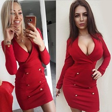 2019 mama style new arrival v-neck solid dress above knee Mini button pockets sheath slim sexy comfortable female