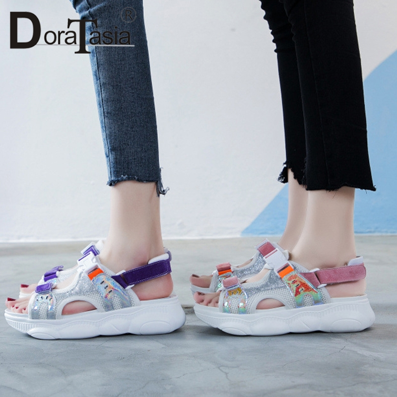 DORATASIA 2019 New INS Hot Colored   Leather     Suede   Sandals Women Summer Shining Glitters Platform Wedges Women Shoes Woman Flats