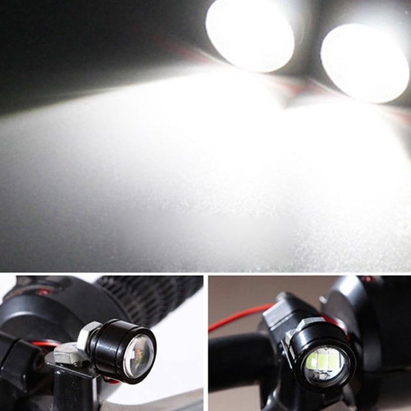 Image 2 - 2Pcs 12V Motorcycle White LED Spotlight Headlight Driving Light Fog Lamp 21.5*20*47mm spotlight accessories car work Fog light-in Electromobile from Automobiles & Motorcycles