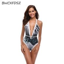 BWCXFDSZ купальный костюм женский купальник трикини Монокини Цельный принт сетка с открытой спиной купальный костюм пляжный купальный костюм