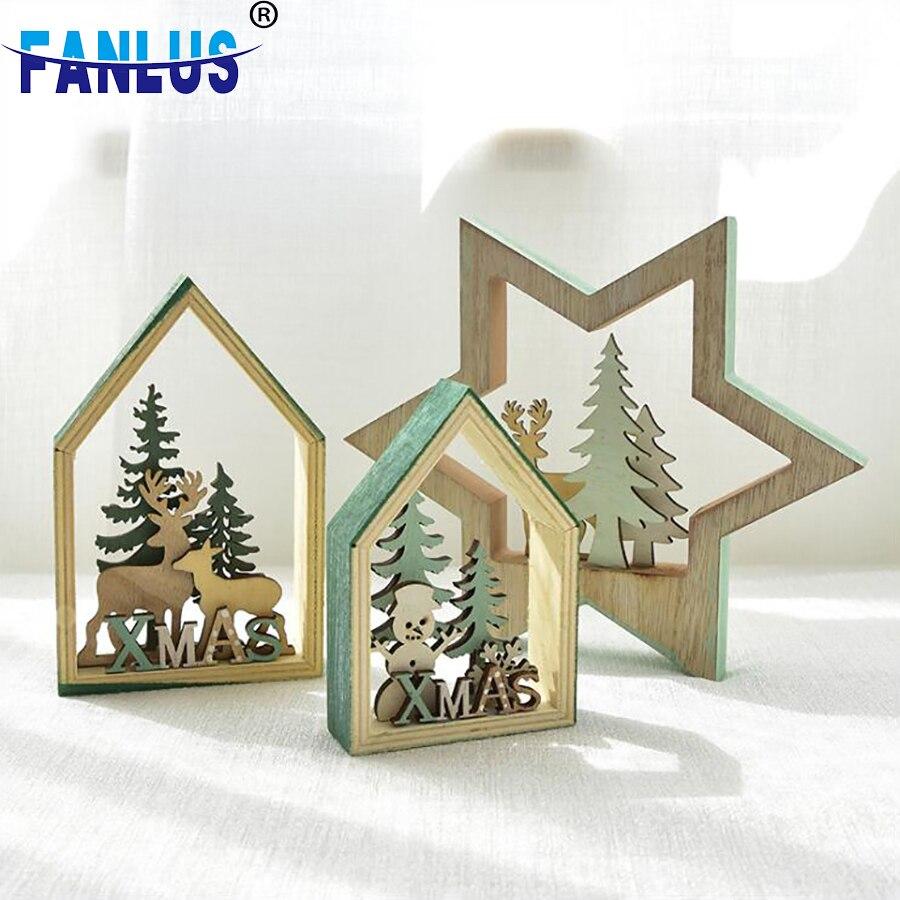 1pcs Wooden Christmas Ornaments Adornos De Navidad Decorations Accessories Xmas Decoraciones Para El Hogar