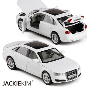 Image 2 - High simulation 1:32 AUDI A8 Alloy Car Model Metal Toy Vehicles With Pull Back Flashing Musical For Kids Toys Free Shipping