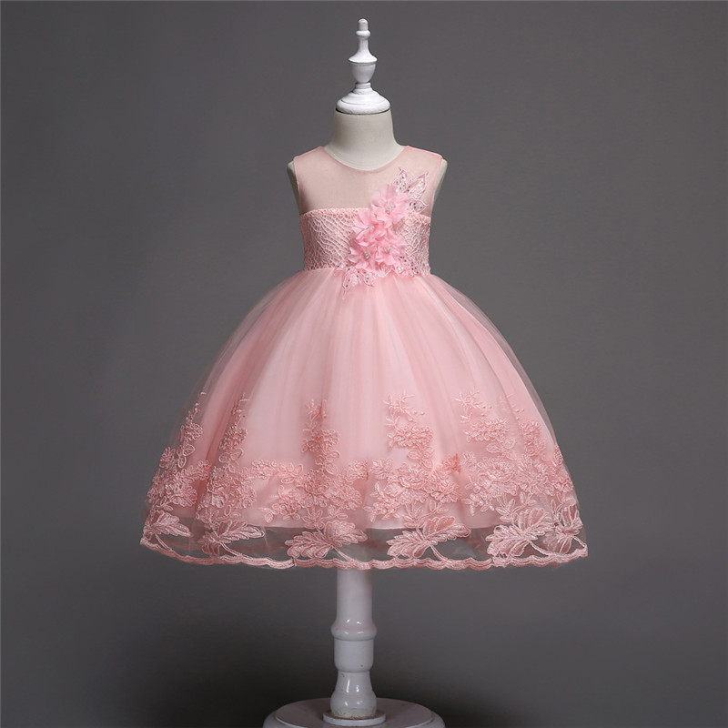 Flower Children Princess Dress 2018 Summer Sleeveless Kids Lace Dresses for Girls Mesh O-neck Teens Party Wedding Clothes 3-12y цена