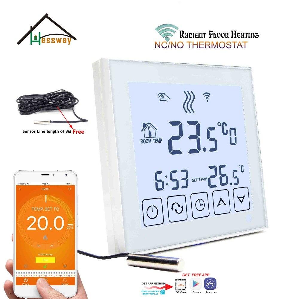 Mobile Sensor NO,NC Water Floor Heating Wifi Thermostatic Radiator Valve For White Background Light
