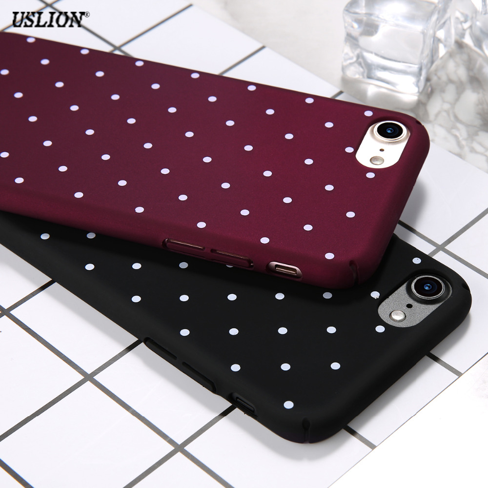 Fashion Cute Dots Phone Case For iPhone 7 6 6s Plus 5 5s SE Wine Red Ultrathin Hard Plastic Back Cover Cases For iPhone7 Plus