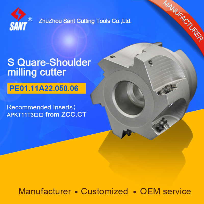 Zhuzhou Sant Indexable milling cutter with 90degree EMP02-050-A22-AP11-06/PE01.11A22.050.06 Mached carbide insert APKT11T304 high precision milling tools high quality milling cutter emp02 050 a22 ap11 06