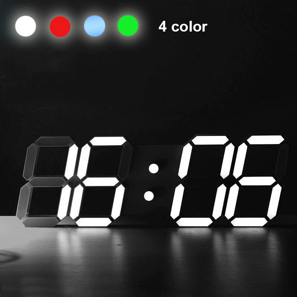 Modern LED Clock Digital LED Table Desk Night Wall Clock Alarm Watch 24 Or 12 Hour Display Digital USB Cable
